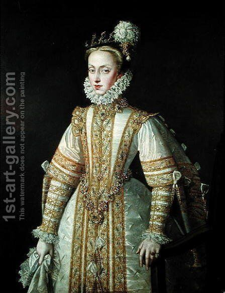 Anne of Austria 1549-80 Queen of Spain, c.1571 by Alonso Sanchez Coello - Reproduction Oil Painting