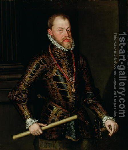 Philip II of Spain 1527-98 c.1570 by Alonso Sanchez Coello - Reproduction Oil Painting