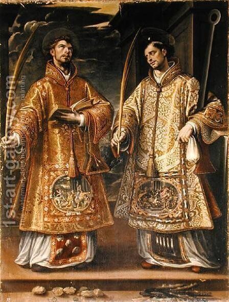 St. Lawrence and St. Stephen, 1580 by Alonso Sanchez Coello - Reproduction Oil Painting