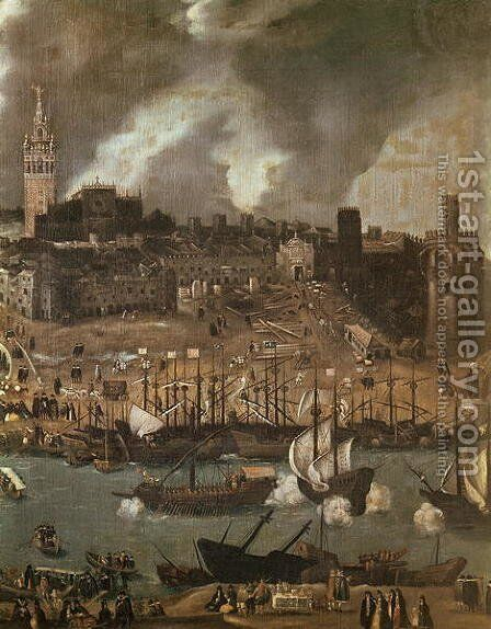 An Expedition Setting out from Seville for America in 1498 by Alonso Sanchez Coello - Reproduction Oil Painting
