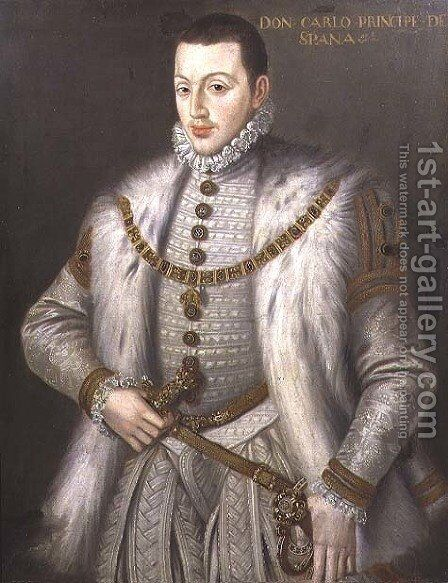 Portrait of Don Carlos 1545-68, son of Philip II of Spain, after Sofonisba Anguissola c.1527-1626 by Alonso Sanchez Coello - Reproduction Oil Painting