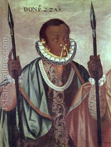 Ecuadorian from Quito, detail from Warriors of the Esmeraldas, 1599 by Adrian Sanchez Galque - Reproduction Oil Painting