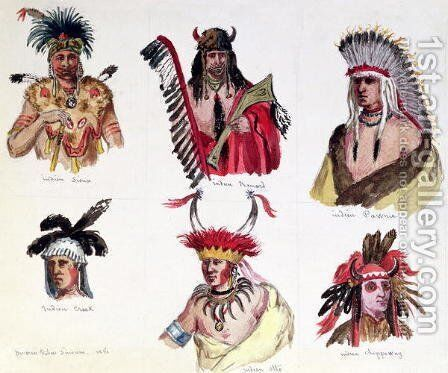 Portraits of Six American Indians from the Sioux, Renard, Pawnee, Creek, Otto and Chippewa Tribes, 1861 by Baron Dudevant Jean Francois Maurice Sand - Reproduction Oil Painting