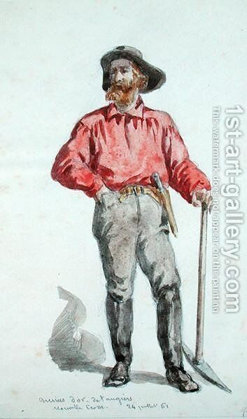 Portrait of a gold seeker in Nova Scotia, 1861 by Baron Dudevant Jean Francois Maurice Sand - Reproduction Oil Painting
