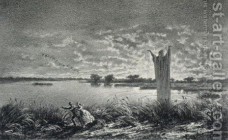 The Monk of the Etangs-Brisses, illustration for Legendes Rustiques by George Sand 1804-76, engraved by E. Vernier, 1858 by Baron Dudevant Jean Francois Maurice Sand - Reproduction Oil Painting
