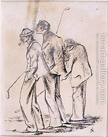 The Lethargic Golfers, illustration from Graphic magazine, pub. c.1870 by Henry Sandercock - Reproduction Oil Painting