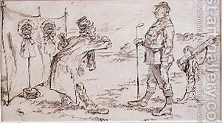 The Golfer being disturbed by the Salesman, illustration to Graphic magazine, pub. c,1870 by Henry Sandercock - Reproduction Oil Painting