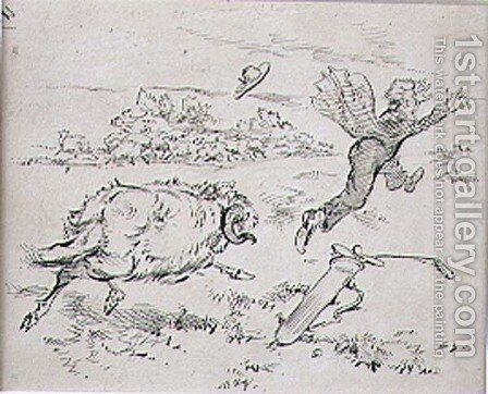 The Disturbed Golfer, illustration from Graphic magazine, pub. c.1870 by Henry Sandercock - Reproduction Oil Painting