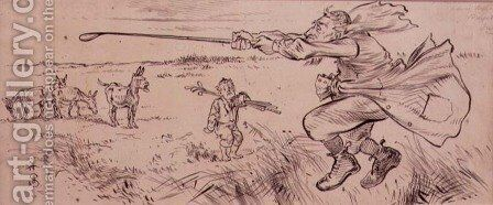 The Out of Control Golfer, illustration from Graphic magazine, pub. c.1870 by Henry Sandercock - Reproduction Oil Painting