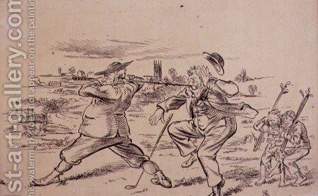 The Inconsiderate Golfer, illustration from Graphic magazine, pub. c.1870 by Henry Sandercock - Reproduction Oil Painting