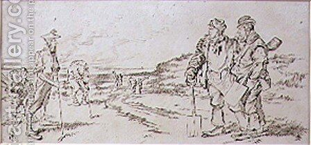 The Roadmen disturbed by the Golfers, illustration from Graphic magazine, pub. c.1870 by Henry Sandercock - Reproduction Oil Painting