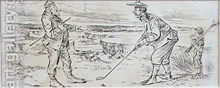 The Hesitant Golfer, illustration from Graphic magazine, pub. c.1870 by Henry Sandercock - Reproduction Oil Painting