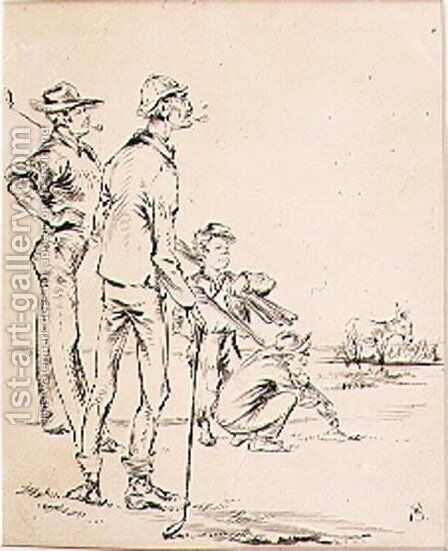 The Strategic Golfer, illustration from Graphic magazine, pub. c.1870 by Henry Sandercock - Reproduction Oil Painting