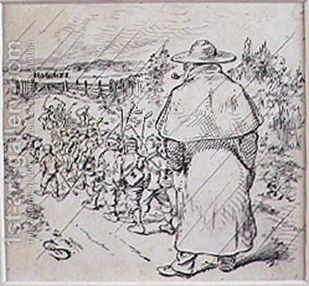 The School Boy Golfers in the Rain, illustration from Graphic magazine, pub. c.1870 by Henry Sandercock - Reproduction Oil Painting