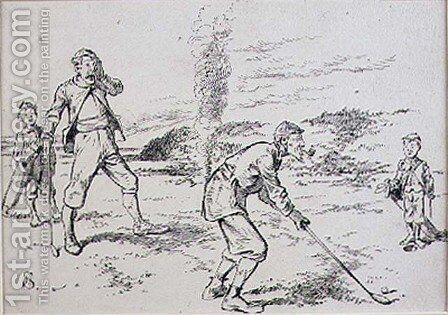 The Absent Minded Golfer, illustration from Graphic magazine, pub. c.1870 by Henry Sandercock - Reproduction Oil Painting