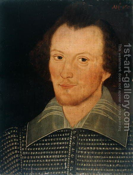 Portrait of a man, reputed to be William Shakespeare, 1603 by (attr. to) Sanders, John - Reproduction Oil Painting