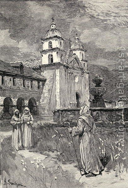 Fountain and mission, Santa Barbara, California, from the book The Century Illustrated Monthly Magazine, May to October, 1883 by Henry Sandham - Reproduction Oil Painting