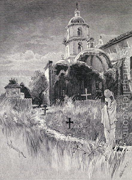 Graveyard and mission, San Luis Rey de Francia, California, from the book The Century Illustrated Monthly Magazine, May to October, 1883 by Henry Sandham - Reproduction Oil Painting