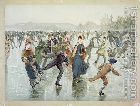 Skating, published by L. Prang and Co. by Henry Sandham - Reproduction Oil Painting