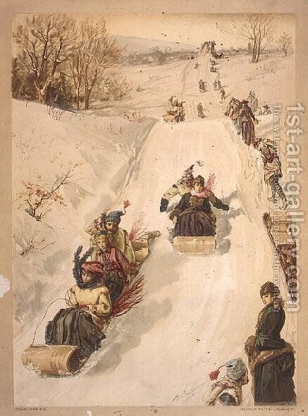 Tobogganing, by L. Prang and Co., 1886 by Henry Sandham - Reproduction Oil Painting