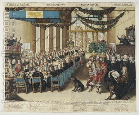 Feast on the Occasion of the Nuremberg Peace Process in the City Hall, 25 September 1649, engraved by Wolfgang Kilian, after 25 September 1649 by Joachim von, I Sandrart - Reproduction Oil Painting