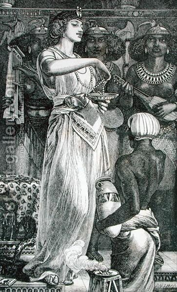 Cleopatra, 1866 by Anthony Frederick Sandys - Reproduction Oil Painting