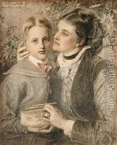 Mrs Tom Chappell and Son, 1874 by Anthony Frederick Sandys - Reproduction Oil Painting