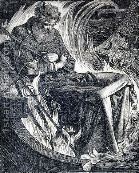 Death of King Warwulf, 1862 by Anthony Frederick Sandys - Reproduction Oil Painting