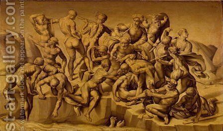 The Battle of Cascina, or The Bathers, after Michelangelo 1475-1564, 1542 by Aristotile da Sangallo - Reproduction Oil Painting