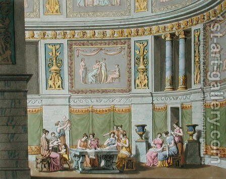 The Gynaeceum, from Le Costume Ancien et Moderne by Jules Ferrario, c.1825 by Alessandro Sanquirico - Reproduction Oil Painting