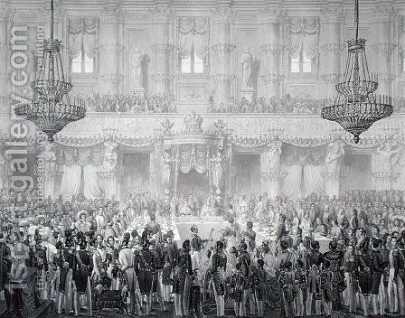 State Banquet to Mark the Occasion of the Coronation of Ferdinand I 1793-1875, 1st September 1838, engraved by Francesco Citterio, from Incoronazione de SMIRA Ferdinando I, il Re del Regno Lombard-Veneto, published 1838 by Alessandro Sanquirico - Reproduction Oil Painting