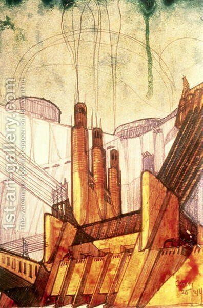 Electric Power Plant, 1914 by Antonio Sant'Elia - Reproduction Oil Painting