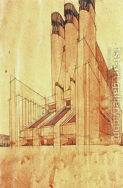 Study for a Building, 1913 by Antonio Sant'Elia - Reproduction Oil Painting