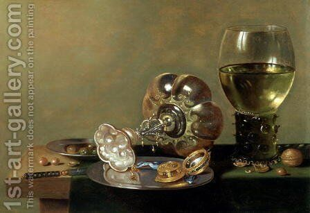 A still life with glass of wine, tazza and a pewter plate by Hans van Sant - Reproduction Oil Painting