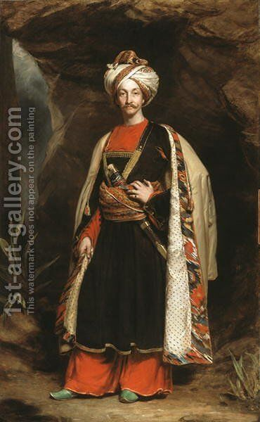 Captain Colin Mackenzie 1806-81 in his Afghan dress, c.1842 by James Sant - Reproduction Oil Painting