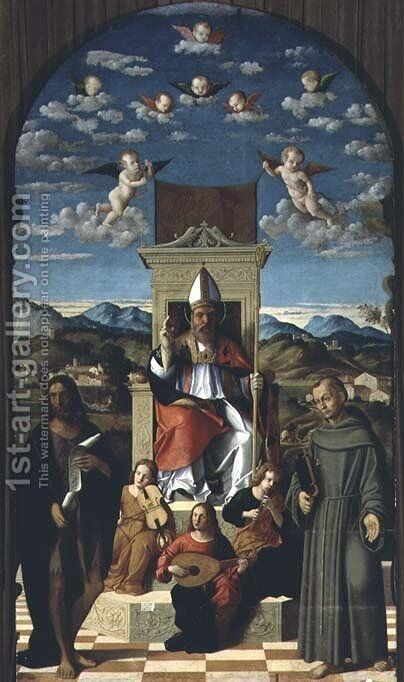St. Thomas a Becket 1118-70 Enthroned with SS. Francis and John the Baptist 1520 by Girolamo da Santacroce - Reproduction Oil Painting