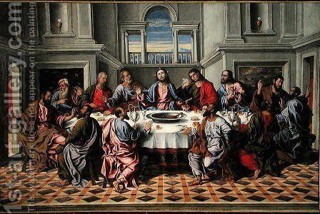 The Last Supper by Girolamo da Santacroce - Reproduction Oil Painting