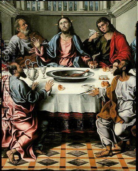The Last Supper 2 by Girolamo da Santacroce - Reproduction Oil Painting