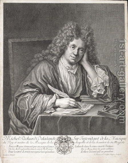 Michel Richard Delalande 1657-1726 engraved by Simon Thomassin 1655-1733 by Jean-Baptiste Santerre - Reproduction Oil Painting