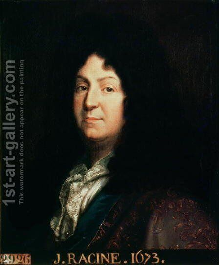 Portrait of Jean Racine 1639-99 copy of an original of 1673, 1698 by Jean-Baptiste Santerre - Reproduction Oil Painting