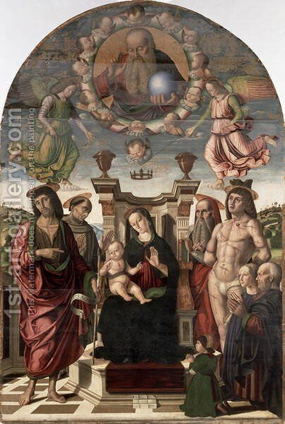 The Madonna and Child Enthroned with Saints by Giovanni Santi or Sanzio - Reproduction Oil Painting