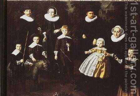 Group portrait of three generations of a family in the grounds of a country house by Dirck Dircksz. Santvoort - Reproduction Oil Painting