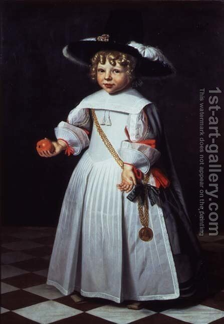 Portrait of a young child holding an orange by Dirck Dircksz. Santvoort - Reproduction Oil Painting