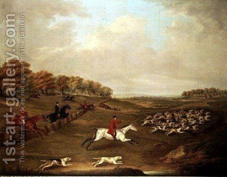 Hunt in full cry by J. Francis Sartorius - Reproduction Oil Painting