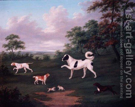 Sporting dogs in a landscape by J. Francis Sartorius - Reproduction Oil Painting