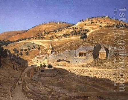 A hilly landscape with Arabs and a ruined temple by Hubert Sattler - Reproduction Oil Painting
