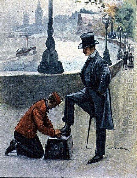 The Shoeblack, No.4 from Familiar Figures of London, c.1901 by Robert Sauber - Reproduction Oil Painting