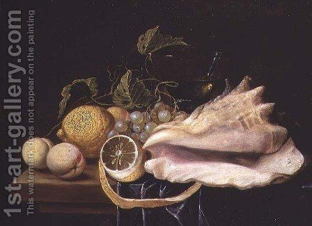 Still life with Strombus Shell and Fruit by Dirck Sauts - Reproduction Oil Painting