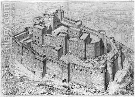The Krak des Chevaliers, reconstruction by Claude Sauvageot - Reproduction Oil Painting