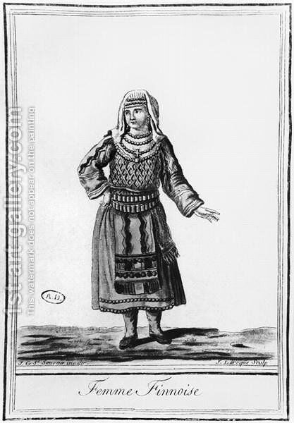 Finnish woman in traditional costume, engraved by J. Laroque by (after) Sauveur, J.G. - Reproduction Oil Painting